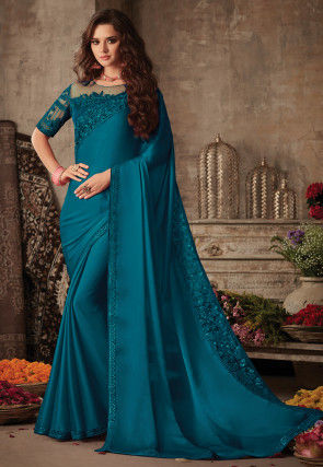 Embroidered Border Satin Georgette Saree in Teal Blue