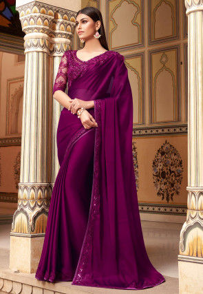 Embroidered Border Satin Georgette Saree in Violet