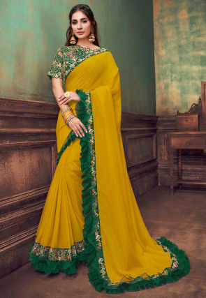 Embroidered Border Satin Georgette Saree in Yellow