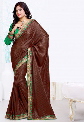 Embroidered Border Satin Jacquard Saree in Brown