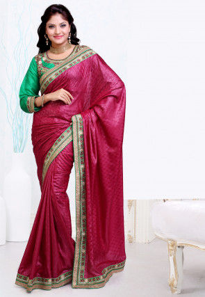 Embroidered Border Satin Jacquard Saree in Pink