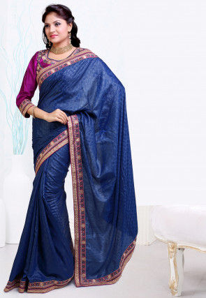 Embroidered Border Satin Jacquard Saree in Teal Blue