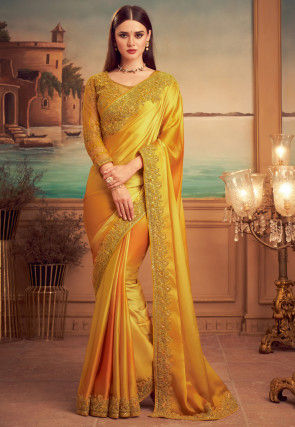 Embroidered Border Satin Saree in Mustard