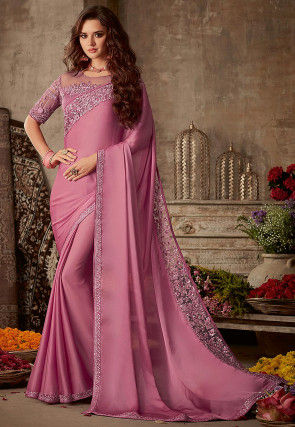 Embroidered Border Satin Georgette Saree in Pink