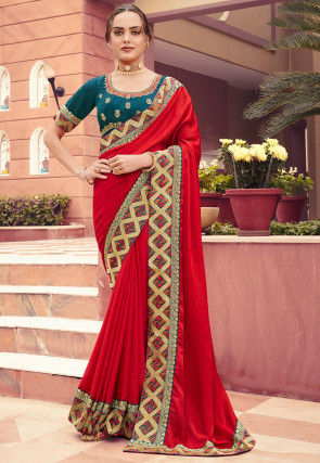 Embroidered Border Satin Silk Saree in Red