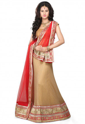 Embroidered Border Shimmer Tissue Lehenga in Beige