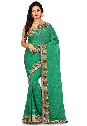 Embroidered Border Viscose Georgette Saree in Green
