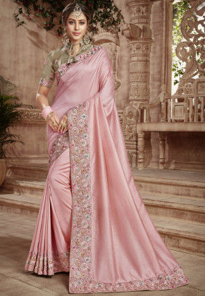 Embroidered Border with Blouse Dupion Silk Saree in Light Pink
