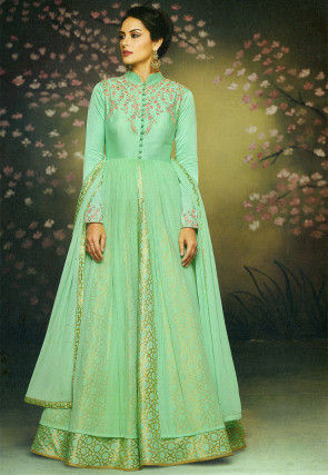 Embroidered Brocade Abaya Style Suit in Sea Green