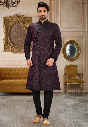 Embroidered Brocade Jodhpuri Suit in Dark Purple