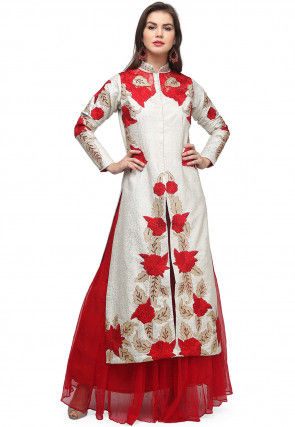 Embroidered Brocade Kurta with Skirt in Off White