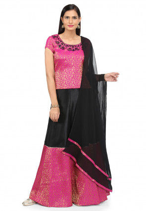 Embroidered Brocade Lehenga in Black and Fuchsia