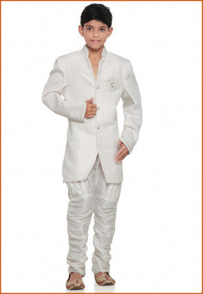 Embroidered Brocade Sherwani in Off White