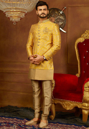 Embroidered Brocade Sherwani Set in Pastel Yellow and Golden