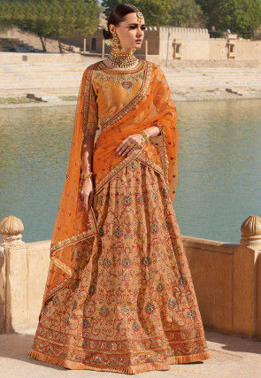 Embroidered Brocade Silk Lehenga in Orange