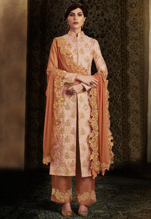 Embroidered Brocade Silk Pakistani Suit in Peach