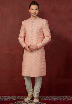 Embroidered Brocade Silk Sherwani with Churidar in Peach