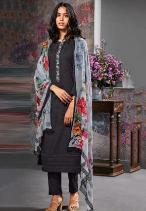 Embroidered Cambric Cotton Pakistani Suit in Black