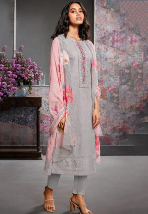 Embroidered Cambric Cotton Pakistani Suit in Grey