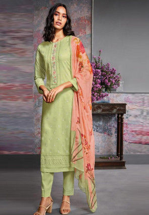 Embroidered Cambric Cotton Pakistani Suit in Light Green