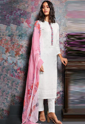 Embroidered Cambric Cotton Pakistani Suit in Off White