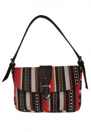 Embroidered Canvas Hand Bag in Multicolor