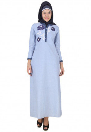 Embroidered Chambray Cotton Abaya in Sky Blue