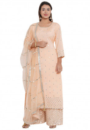 Embroidered Chander silk Pakistani Suit in Peach
