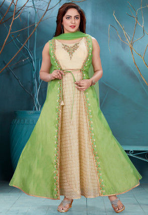 Embroidered Chanderi Abaya Style Suit in Beige and Light Green