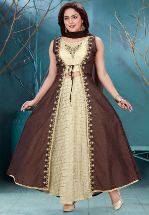 Embroidered Chanderi Abaya Style Suit in Light Beige and Brown