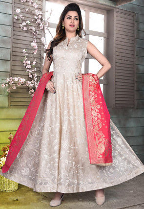 Embroidered Chanderi Cotton Abaya Style Suit in Light Grey
