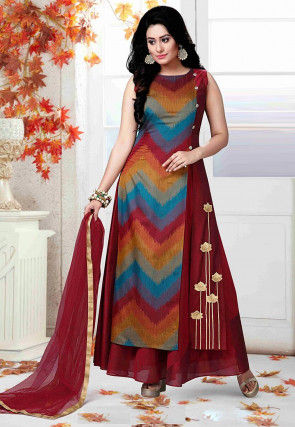 Embroidered Chanderi Cotton Abaya Style Suit in Maroon and Multicolor