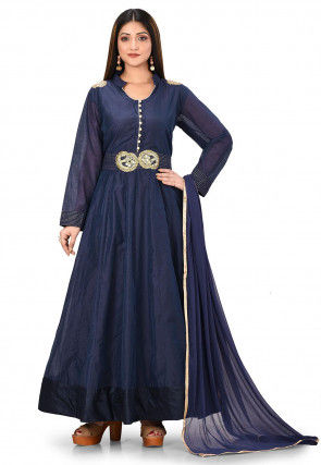 Embroidered Chanderi Cotton Abaya Style Suit in Navy Blue