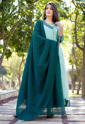 Embroidered Chanderi Cotton Abaya Style Suit in Sea Green