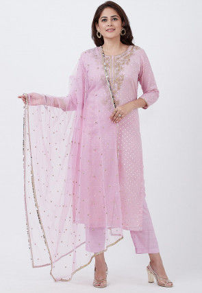 Embroidered Chanderi Cotton Jacquard Pakistani Suit in Pink
