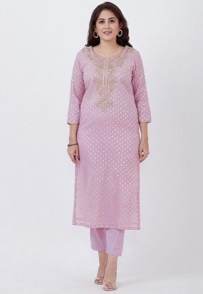 Embroidered Chanderi Cotton Jacquard Straight Kurta Set in Pink