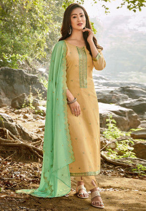Embroidered Chanderi Cotton Pakistani Suit in Beige