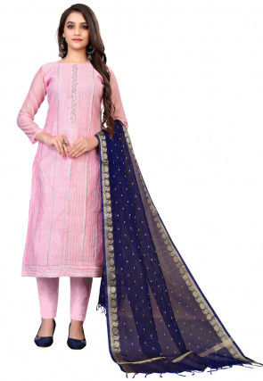 Embroidered Chanderi Cotton Pakistani Suit in Light Pink