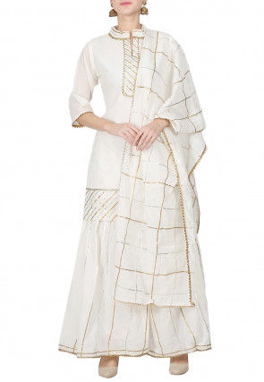 Embroidered Chanderi Cotton Pakistani Suit in Off White