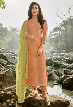 Embroidered Chanderi Cotton Pakistani Suit in Peach