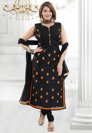 Embroidered Chanderi Cotton Straight Suit in Black