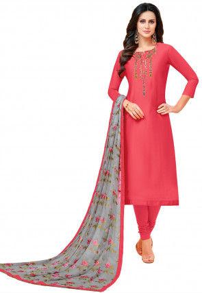 Embroidered Chanderi Cotton Straight Suit in Dark Peach