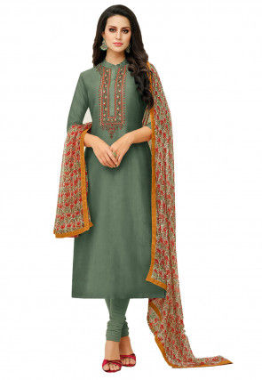 Embroidered Chanderi Cotton Straight Suit in Dusty Green