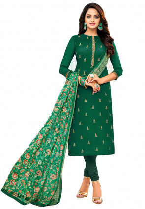Embroidered Chanderi Cotton Straight Suit in Green