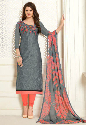 Embroidered Chanderi Cotton Straight Suit in Grey