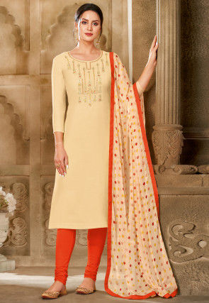 Embroidered Chanderi Cotton Straight Suit in Light Beige