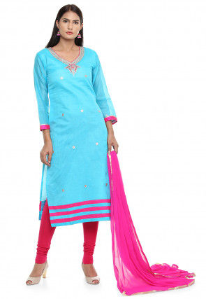 Embroidered Chanderi Cotton Straight Suit in Light Blue