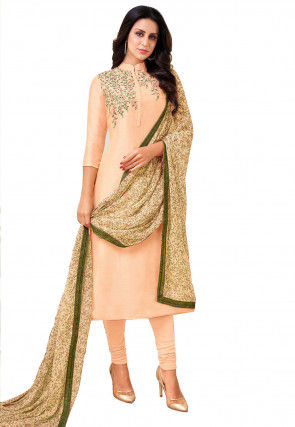 Embroidered Chanderi Cotton Straight Suit in Light Peach
