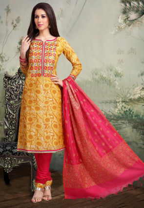 Embroidered Chanderi Cotton Straight Suit in Mustard