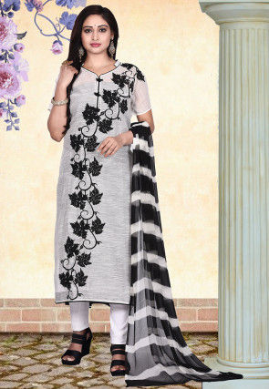 Embroidered Chanderi Cotton Straight Suit in Off White